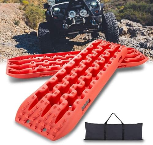 IKURAM 2 Pcs Traction Boards for Off-Road Truck, Cars, Sand, Snow, 4X4 Recovery Traction Mats (Pink)