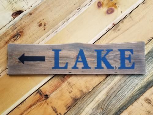 Lake with Arrow - Horizontal Sign