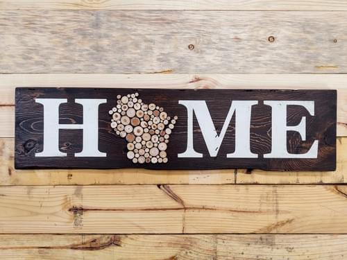 Home Wood Slice State (Wisconsin) Horizontal Sign