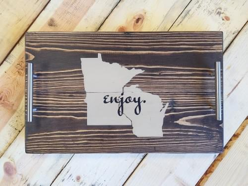 Enjoy [State(s)] Wood Serving Tray