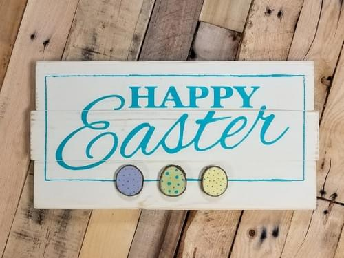 Happy Easter Sign with Wood Slice Eggs
