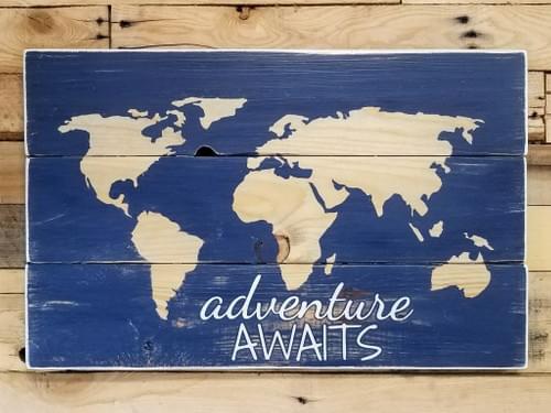 Large Adventure Awaits World Map Sign