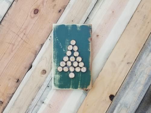 Wood Slice Christmas Tree - Small Sign