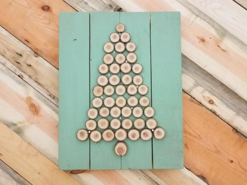 Wood Slice Lighted Christmas Tree Sign