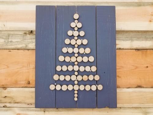 Wood Slice Lighted Christmas Tree Sign