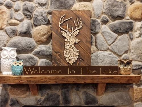 Wood Slice Buck Head Sign