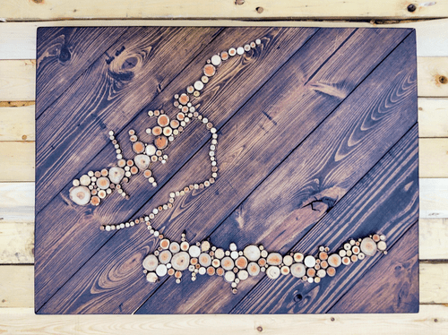 Wood Slice Lake Sign. Large Wall Art