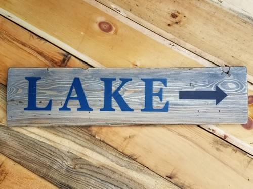 Lake with Arrow - Horizontal Sign