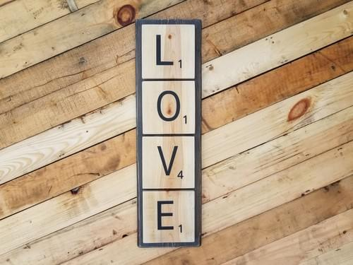 Scrabble Love Wood Sign