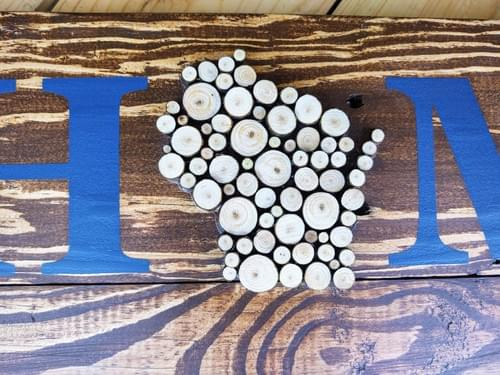Home Sweet Home Sign with Wood Slice States