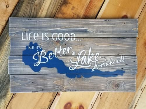 Life is Good... but it's Better at [Lake Name & Map] Sign - Staggered Boards