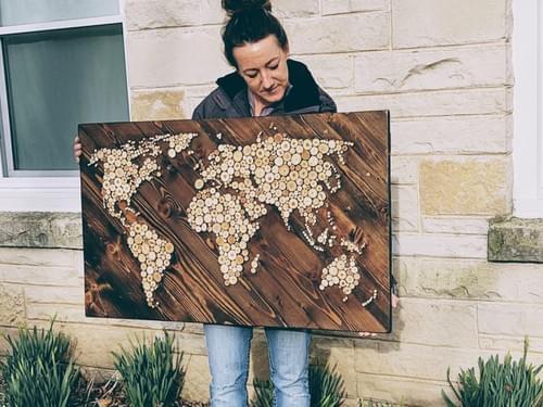 Wood Slice World Map Large Wall Art