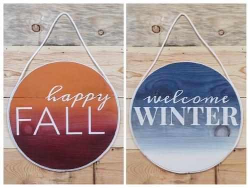 Reversible Fall/Winter Round Door Hanger