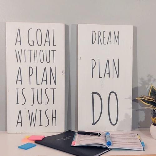 Goal Plan Wish Wood Sign