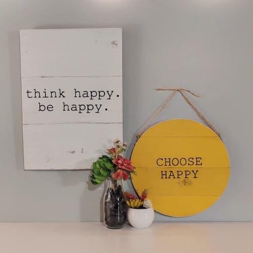 Choose Happy Round Wood Sign