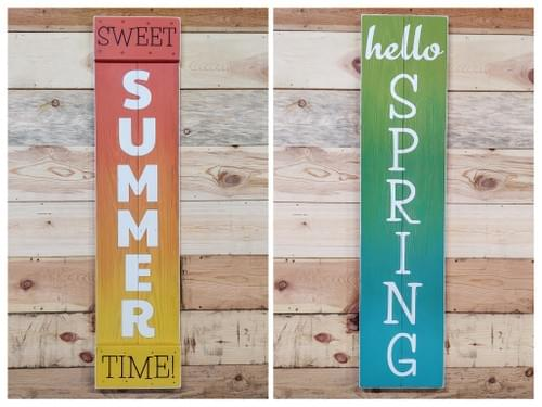 Reversible Fall/Winter Large Wood Sign