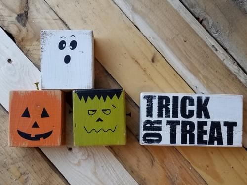 Trick or Treat Faces Set of 4 Wood Blocks