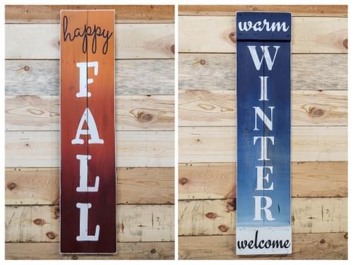 Reversible Summer/Spring Large Wood Sign