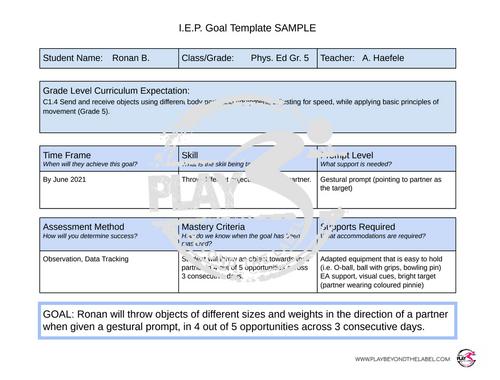 IEP Goal Template