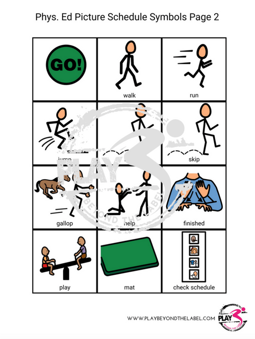 Physical Education Picture Schedule Symbols