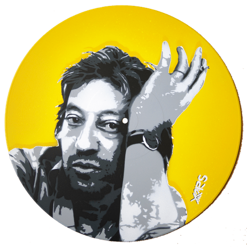 Gainsbourg Pochoir sur vinyle 33t
