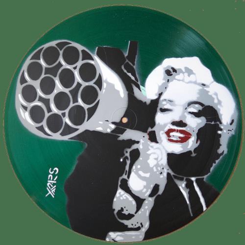 Marilyn Pochoir sur vinyle 33t translucide