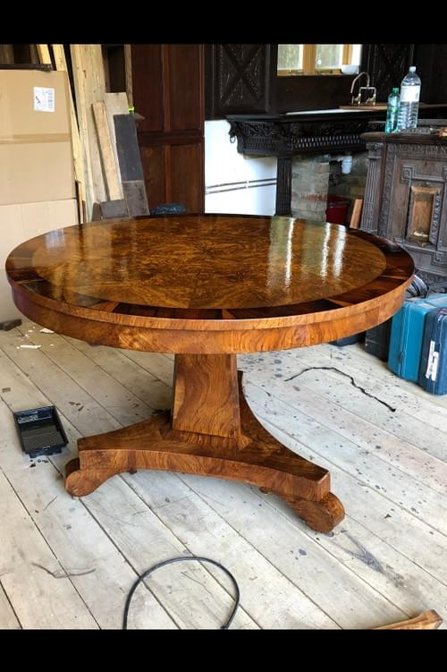 SOLD:    A Fine Example of an English 4-6 seater Burr Walnut and Rosewood  Starburst table c.1850