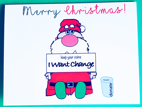 Merry Christmas Card, Political Christmas Card, Change Card