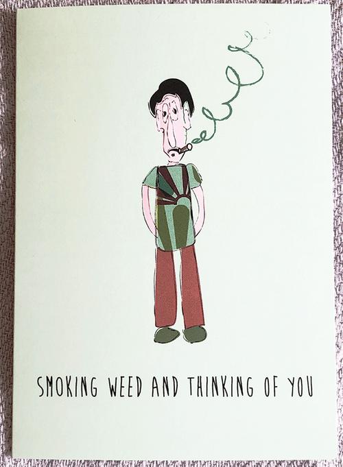 Weed Birthday Card, Marijuana Card, Stoner Card, Cannabis, Funny Greeting Card, Dope, I Like You,