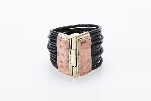 Crushed coral black braided leather bracelet