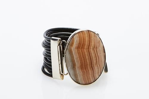 Jasper + Black Braided Leather Cuff