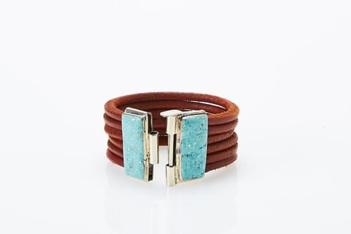 Crushed Turquoise + Brown Braided Leather