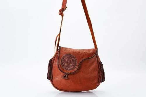 Brown Yak Leather Purse, with Tassels