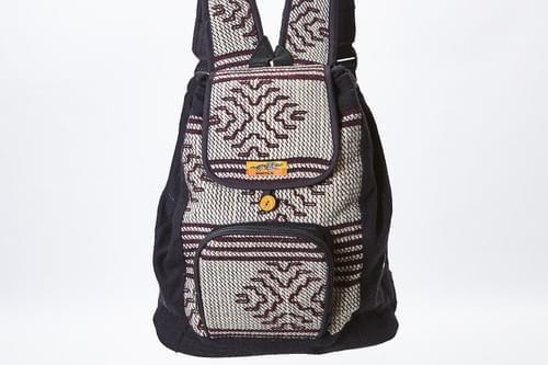 Bhutan backpack, brown + white