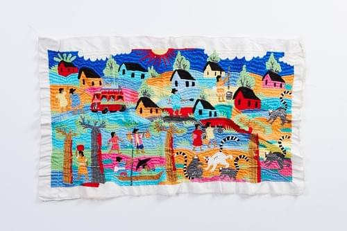 Embroidered Village Tapestry