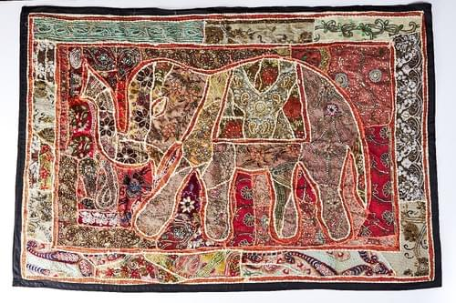 Vintage Beaded Elephant Tapestry