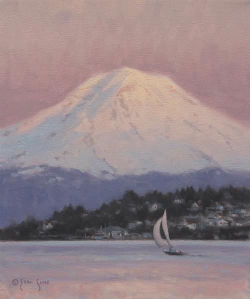 Rainier by Winter Light (12x10)
