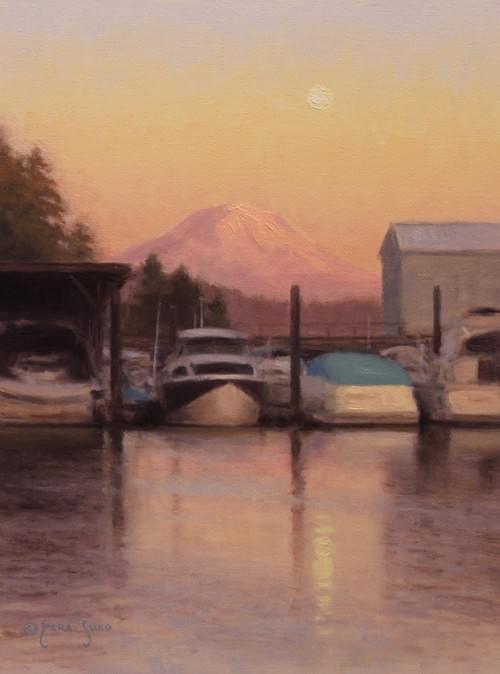Moonrise Over the Marina (12x9)