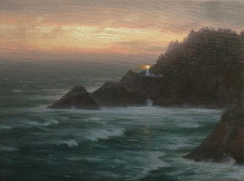 Heceta Head: Nightfall (9x12)