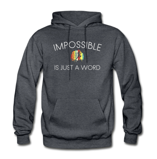 Men's Hoodie Sweatshirt - Impossible is Just a Word (Dark Gray with runner)