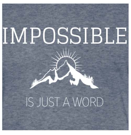 Unisex Light Long Sleeve Shirt - Impossible is Just a Word (Heather Blue)