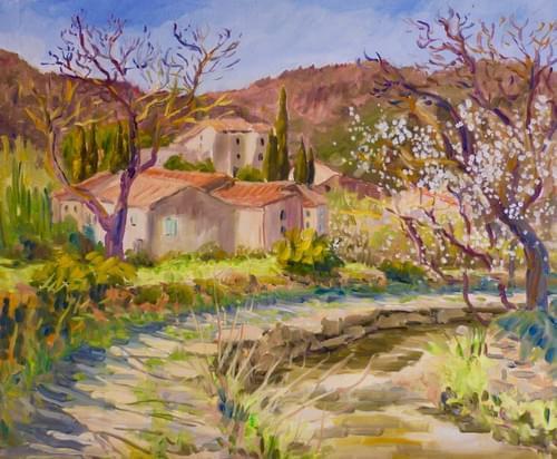 Village de Bugarach au printemps
