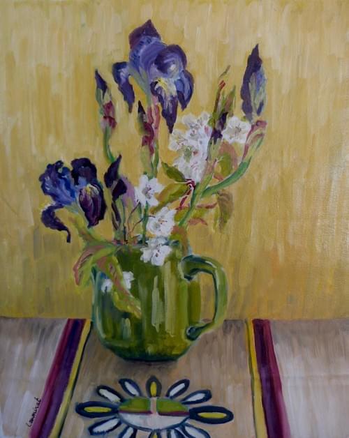 Iris et fleurs de cerisier