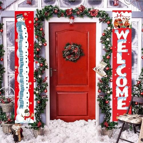 Merry Christmas Banners, New Year Welcome Bright Xmas Porch Sign Hanging for Home Wall Door