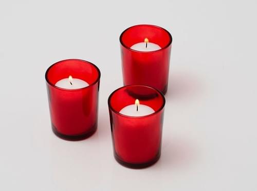 White Votive Candles with Red or Blue, White Votive Holder Set