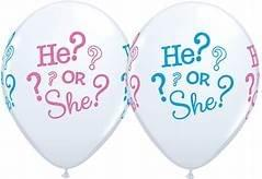 "6 Pack 11"" He or She Gender Reveal Pink Blue Latex Balloons with"