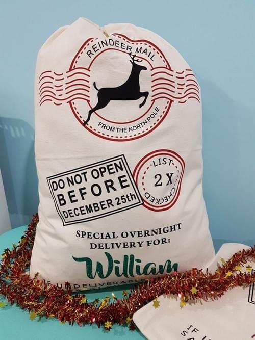 PERSONALIZED CHRISTMAS SANTA SACK REINDEER DESIGN