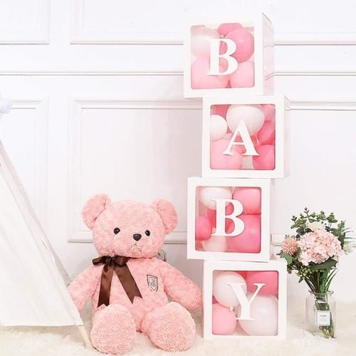 1pcs White Blocks Square Baby Shower Boxes Kit Party Decorations for Boy & Girl Gender Reveal