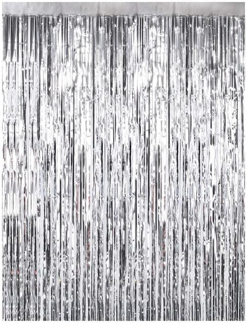Foil Fringe Curtains Silver Metallic Tinsel curtain for Party Photo Backdrop Wedding Decor
