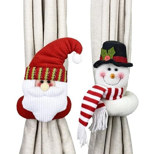 Christmas Curtain Buckle Xmas Santa Tiebacks Tie Backs Buckle Clips Holdbacks Home Cute Cartoon Patt